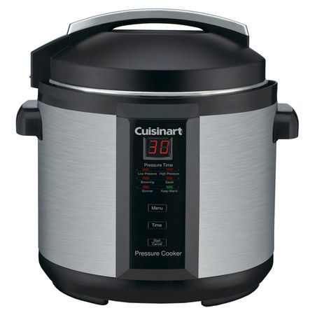 Stainless steel pressure cooker with 6-quart capacity and push-button ...