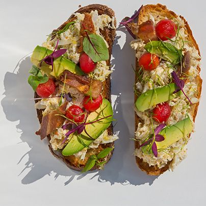 Learn to make Marcus Samuelson's open-faced crab sandwich.