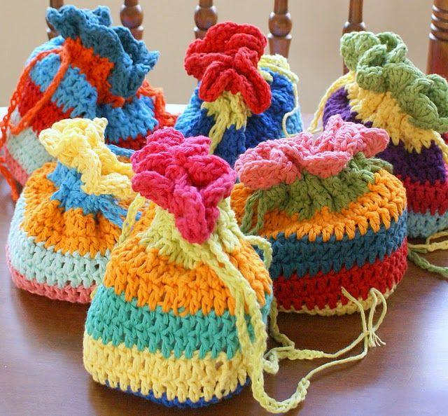 Crochet Grab Bag Pattern : Crochet Treasure Bag - Tutorial Learn Crochet stiches ...