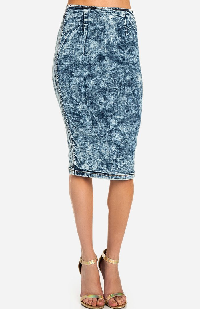 acid wash denim pencil skirt of the day