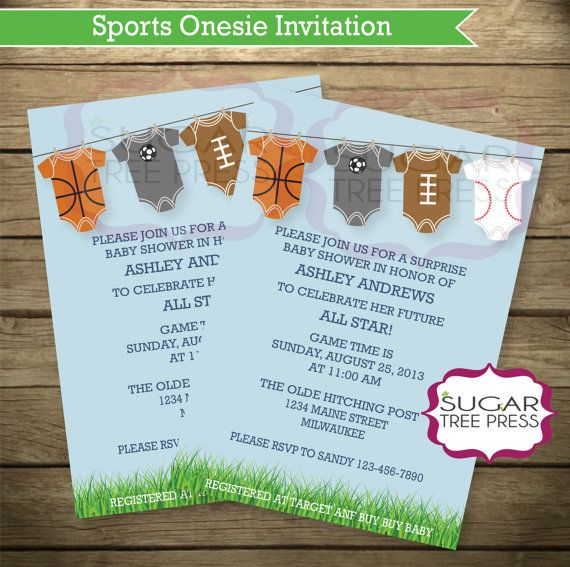onesie sports baby shower invitations light blue with grass sports