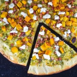 Goat cheese bnut squash and pancetta pizza
