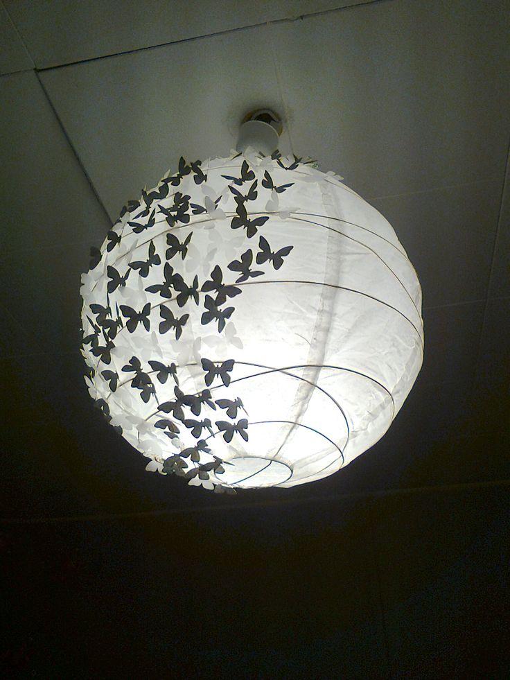 Boule japonaise papillon luminaires pinterest - Lampe boule japonaise ...