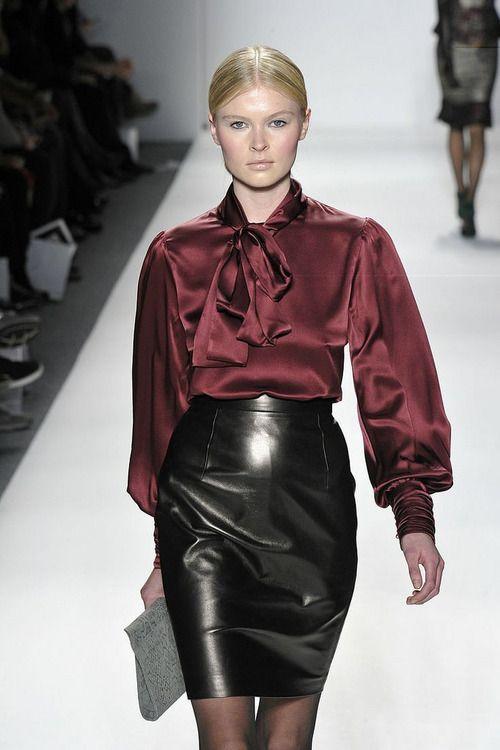 Silk Blouse And Leather Skirt - Blouse Zardosi Design