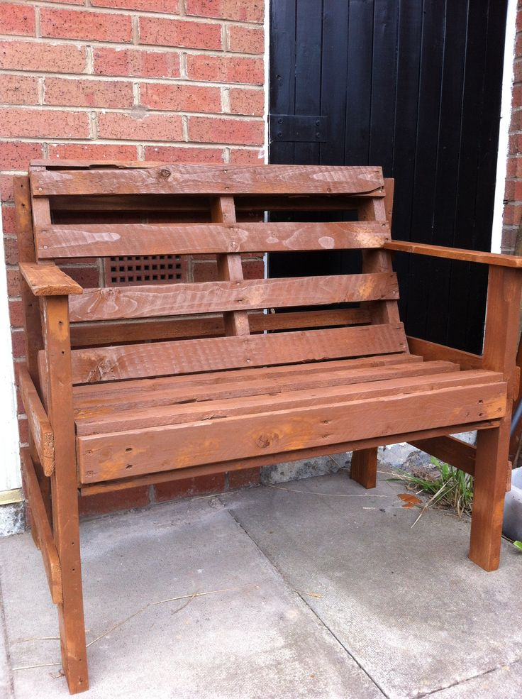 Pallet furniture turned into a bench   Pallet turned into a garden be ...