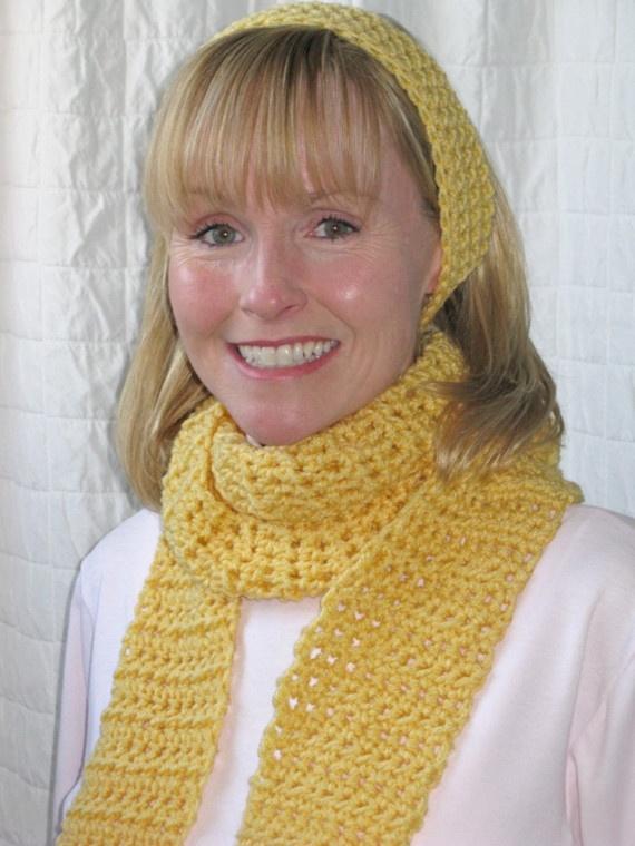 Warm Yellow Crocheted Scarf and Headband by DeborahVoizin on Etsy, $22 ...