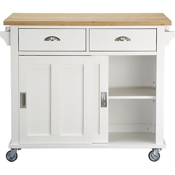 belmont white kitchen island in dining kitchen storage