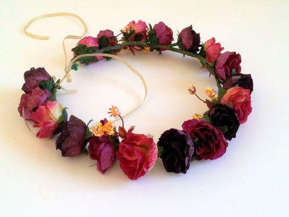 Red Flower Crown Burgundy Red Wedding Hair Accessories Rustic Hair