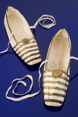 Pair of Queen Victoria's white satin slippers, England, 1840-1848