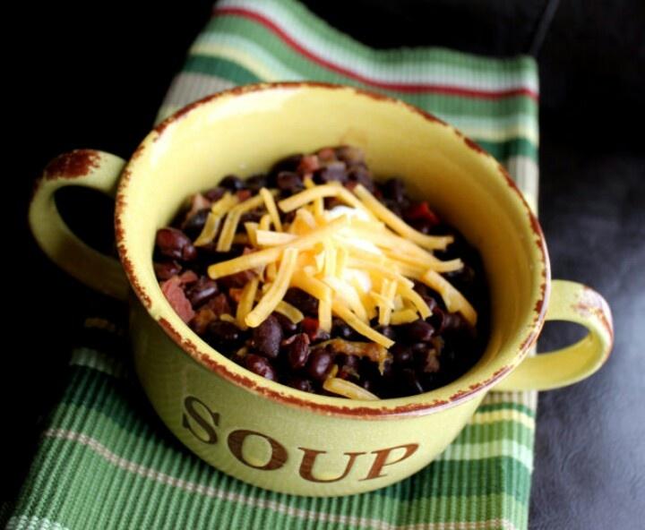 Black bean crock pot soup - serve plain | Food | Pinterest