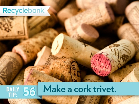 Make a cork trivet with wine corks to protect your counters. Take 50, a metal tie and tighten them together.