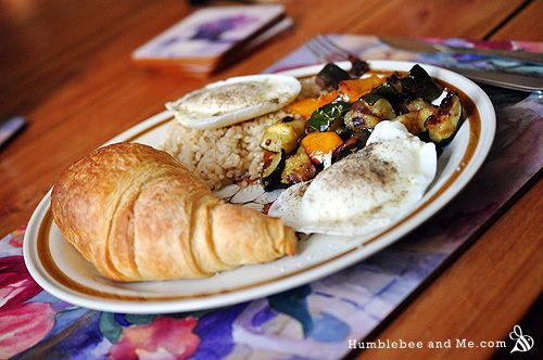 ... | Poached Eggs over Brown Rice & Roasted Veggies · Humblebee & Me