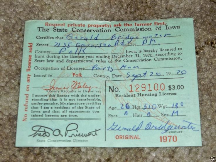 vintage 1970 state of iowa resident hunting license w