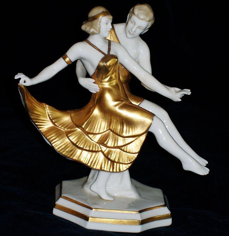 Antique German ART DECO DRESDEN ERNST BOHNE DANCERS COUPLE Porcelain Figurine | eBay