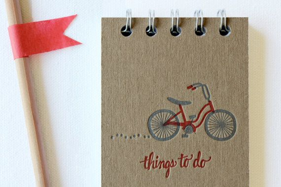 Bicycle To Do List, Letterpress Notebook.