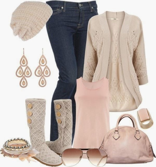 cardigan,blue jeans,pink top,boots,jewelries and handbag