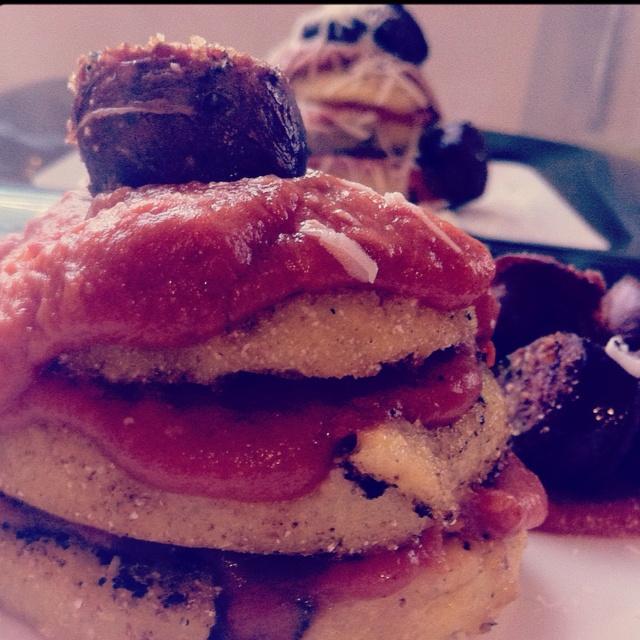 Polenta Cakes with Cajun Tomato Gravy & Venison Sausage. Cut out the ...