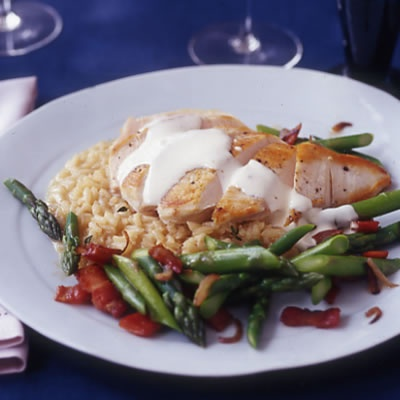 Lemon Cream Chicken with Champagne Risotto and Asparagus | Recipe