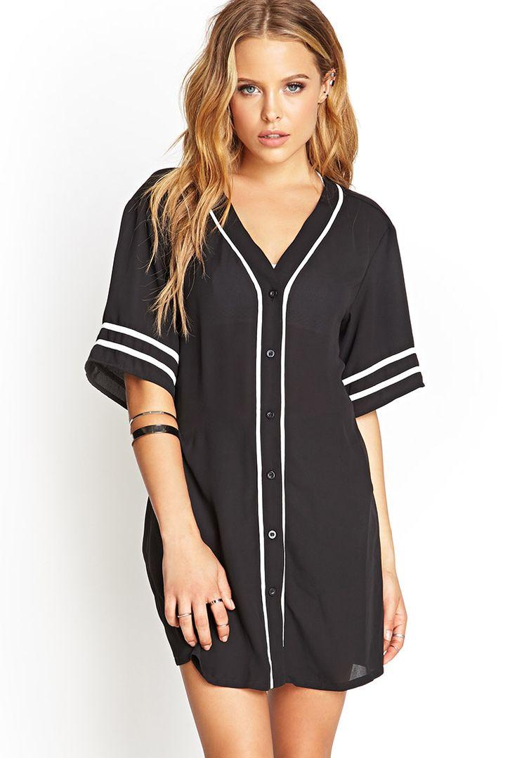Chiffon baseball jersey top for Best inexpensive dress shirts