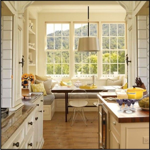 Kitchen window seat for the home pinterest for Kitchen designs with two windows