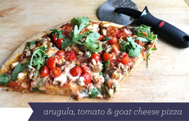 Arugula, Tomato, and Goat Cheese pizza recipe. Guest post from Fabric ...