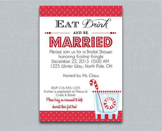 Eat Drink And Be Married Winter Wedding Shower Invitation -- Printable ...