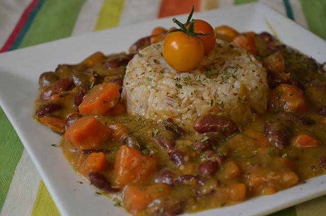 Jamaican Red Bean Stew with Coconut Rice | Vegan ~ Vegetarian | Pinte ...