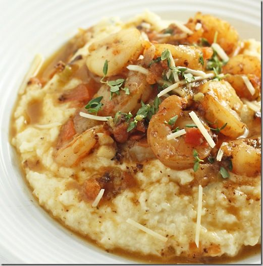 Recipe. Three cheese grits with Creole seasoned shrimp.