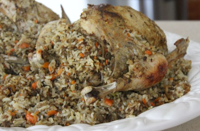 Arabian-inspired roast chicken, stuffed with rice and mince