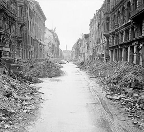 Berlin in ruins almost two months after the Battle of Berlin and subsequent German surrender to Allied forces.    July 3, 1945.