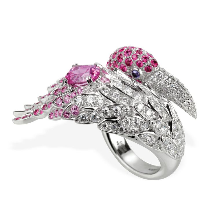 Boucheron flamingo ring with pink and purple sapphires