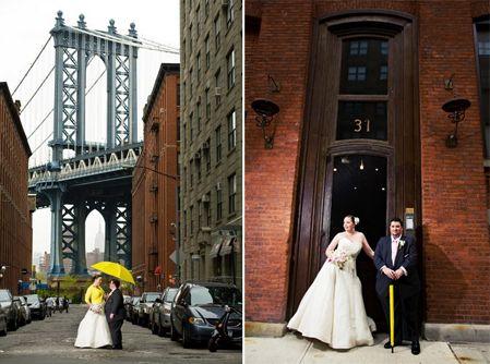 Bright yellow umbrella via wedding dresses