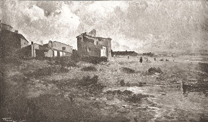 Eliseo Meifrén Roig. Un pueblo triste. Óleo sobre lienzo. Firmado. La Ilustració Catalana, abril de 1905