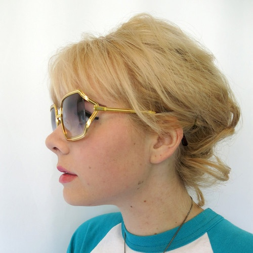 Chloe 79S Gold Oversized Sunglasses Frames Ombre Blue Fade ...