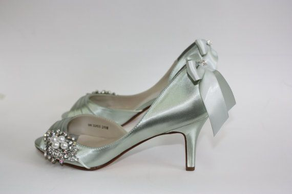 Sage Green Wedding Shoes Peep Toe Pearl And Crystal Adorned Wedding