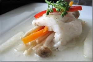 Steamed Fish Roll with Pear Strips | Seafood | Pinterest