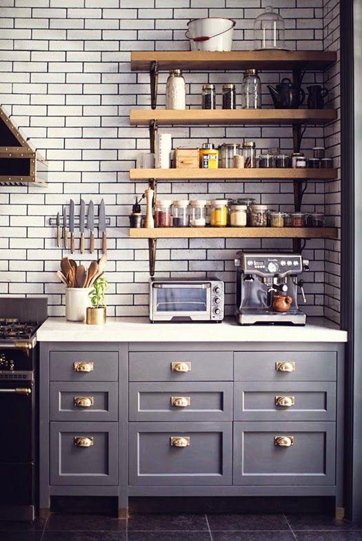 grey cabinets + subway tile + open shelves (wood tones warm up grays). dark grout, gray floor tile