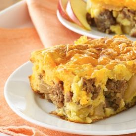 Sweet apples and pie filling balance the sausage and sharp cheddar in ...