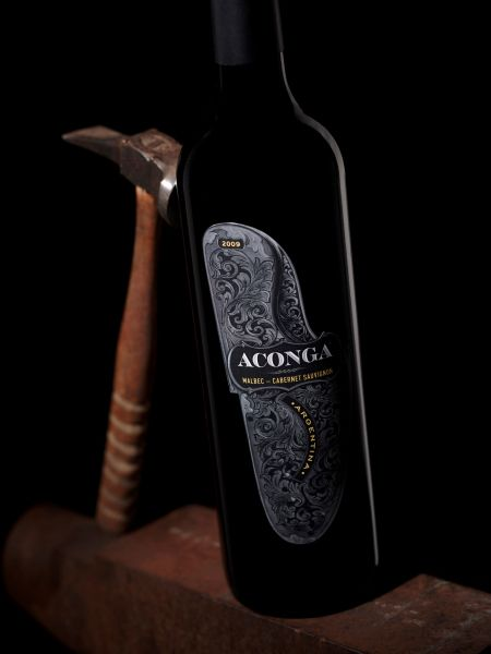Aconga wine from Argentina (Malbec / Cabernet Sauvignon), packaging design by Stranger & Stranger