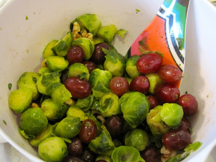 Roasted Brussels Sprouts, Grapes & Walnuts prep -> http://bit.ly ...