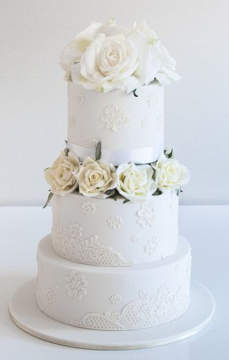 Elegant white wedding cake // Coco Cakes