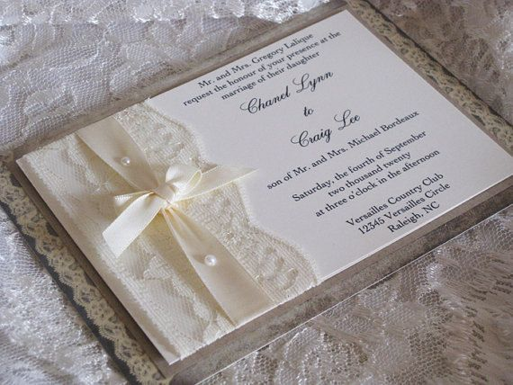 lace wedding invitations french market elegant shabby. Black Bedroom Furniture Sets. Home Design Ideas