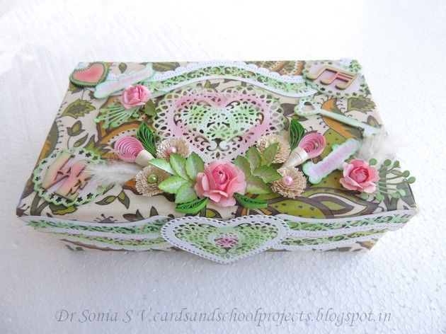 Cards ,Crafts ,Kids Projects: Handmade Flowers on Altered Box