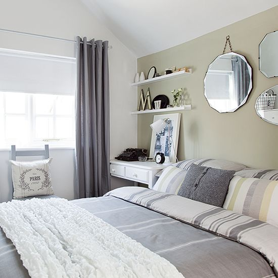 Neutral Bedroom With Pale Green Feature Wall Country
