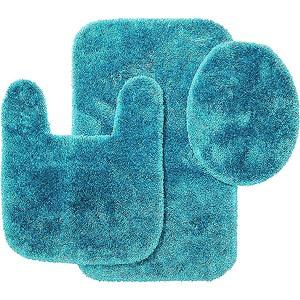 Elegant Teal 100 Cotton Bathroom Mats Set  Washable Bath Amp Pedestal Mat Sets