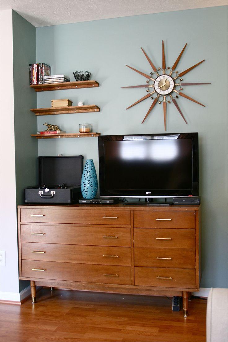 DIY wooden bookshelves | Playing House - Living Room | Pinterest