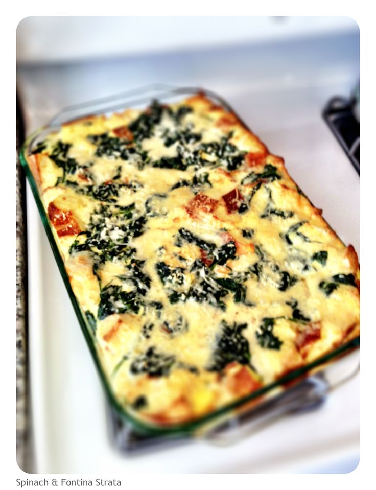 Egg Strata with Spinach and Fontina | Food- Breakfast | Pinterest