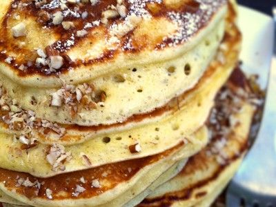 Egg Nog Pancakes with Bourbon-Maple Syrup- yes, this