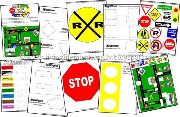 Printable traffic signs for preschool transport community helpers u