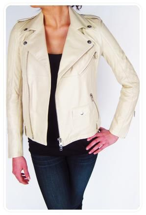 Cream Colored Leather Jackets for Women